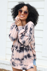 Oversized Tie-Dye Pullover in Peach Front View