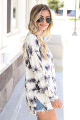 Oversized Tie-Dye Pullover in Ivory Side View
