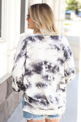Oversized Tie-Dye Pullover in Ivory Back View
