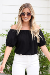 Black - Puff Sleeve Top from Dress Up