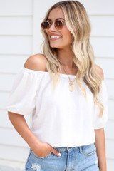 White - Model wearing the Puff Sleeve Top