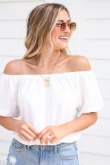 White - Dress Up model wearing the Puff Sleeve Top