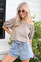 Taupe - Model wearing the Puff Sleeve Top with paperbag shorts