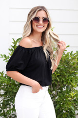 Puff Sleeve Top in Black Side View