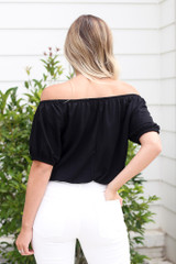 Puff Sleeve Top in Black Back View