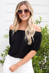 Puff Sleeve Top in Black Front View