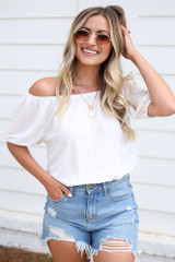 Puff Sleeve Top in White Front View