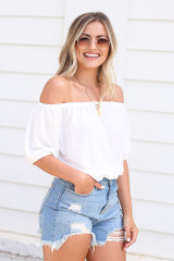 Puff Sleeve Top in White Side View