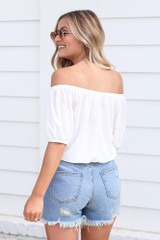 Puff Sleeve Top in White Back View