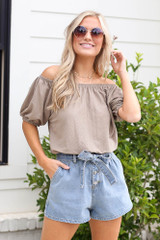 Puff Sleeve Top in Taupe Front View