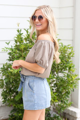 Puff Sleeve Top in Taupe Side View