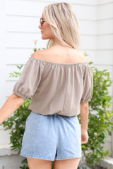 Puff Sleeve Top in Taupe Back View