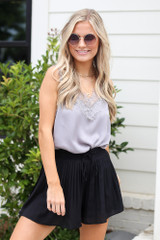 Grey - lace layering tank top from dress up