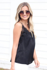 Lace Tank in Black Side View