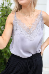 Close Up of the Lace Tank in Grey