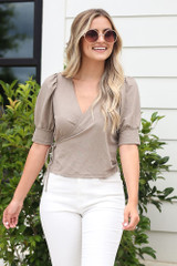 Taupe - puff sleeve wrap blouse