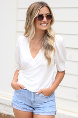 Puff Sleeve Blouse in Ivory Front View