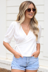 Ivory - cute puff sleeve blouse at dress up