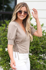Puff Sleeve Blouse in Taupe Side View