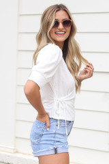 Puff Sleeve Blouse in Ivory Side View
