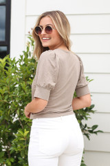 Puff Sleeve Blouse in Taupe Back View
