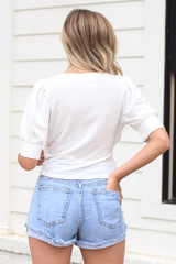 Puff Sleeve Blouse in Ivory Back View