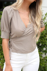 Close Up of the Puff Sleeve Blouse in Taupe