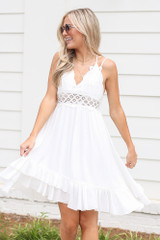 Lace Slip Dress in White Front View