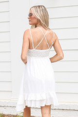 Lace Slip Dress in White Back View