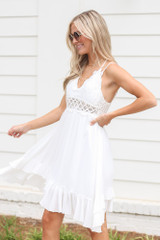 Lace Slip Dress in White Side View
