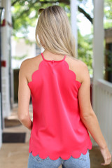Scalloped Tank in Navy Back View