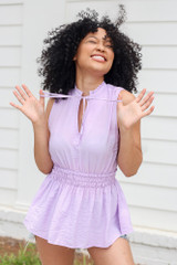 High Neck Smocked Tank in Lavender Front View