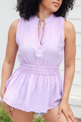 Close Up of the High Neck Smocked Tank in Lavender