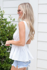 High Neck Smocked Tank in White Side View