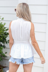 High Neck Smocked Tank in White Back View