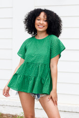 Green - Eyelet Tiered Babydoll Top from Dress Up