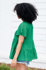 Eyelet Tiered Babydoll Top in Green Side View