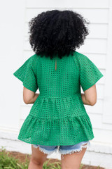 Eyelet Tiered Babydoll Top in Green Back View