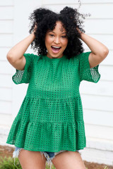 Eyelet Tiered Babydoll Top in Green Front View