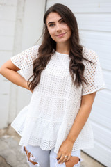 Eyelet Tiered Babydoll Top in White Front View