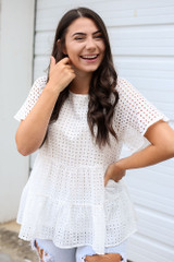 Close Up of the Eyelet Tiered Babydoll Top in White