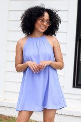 Blue - Model wearing the Halter Swing Dress with round sunglasses