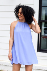 Halter Swing Dress in Blue Front View