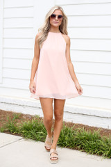 Halter Swing Dress in Blush Front View