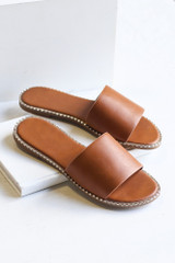 Tan - Close Up of the Studded Slip On Sandals