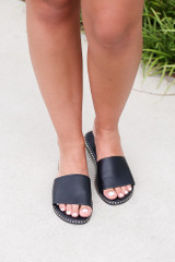 Studded Slip On Sandals in Black Front View