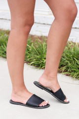 Studded Slip On Sandals in Black Side View