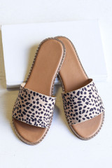 Flat Lay of the Studded Slip On Sandals in Spotted