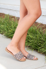 Studded Slip On Sandals in Spotted Side View