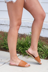 Studded Slip On Sandals in Tan Side View